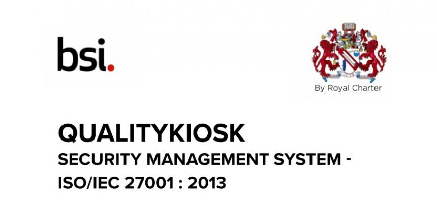 QualityKiosk Awarded ISO 27001:2013 Certification