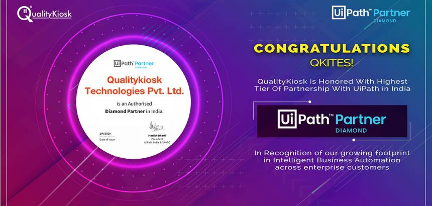 QUALITYKIOSK HONORED WITH HIGHEST TIER OF PARTNERSHIP WITH UIPATH IN INDIA